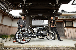 Yuichi Yoshizawa and Yoshikazu Ueda with their Custom Works Zon recently unveiled BMW R18 custom with its prototype large boxer engine at the Buddhist Temple next to their shop in Shiga, Japan. Thursday, December 6, 2018. Photography ©2018 Michael Lichter.