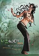 Affiche publicitaire de l'évènement Live en Août organisée par la Grande Brasserie de Nouvelle Calédonie. Photo réalisée en studio.