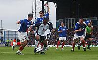 Photo: Alan Crowhurst.<br /> Portsmouth v Tottenham Hotspur. Barclaycard Premiership.<br /> 13/08/2005. Spurs Wayne Routledge attacks in the box.