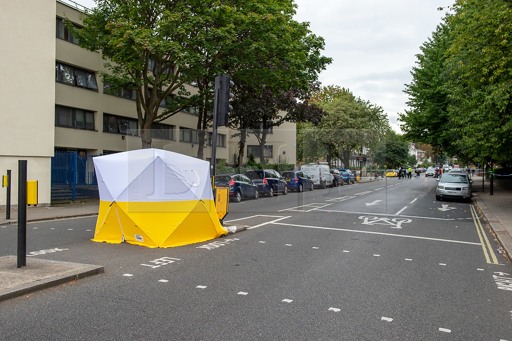 © Licensed to London News Pictures. 09/09/2019. London, UK. A forensic tent is shown inside a police cordon on Prince of Wales Road following a shooting in Kentish Town.<br /> Metropolitan Police were called by the London Ambulance Service shortly before midnight on Sunday 08/09/2019 to reports of a shooting on Malden Road in Kentish Town. Police and London's Air Ambulance attended. A man was found suffering a gunshot injury and was pronounced dead at the scene at 00:10BST on Monday 09/09/2019. Photo credit: Peter Manning/LNP