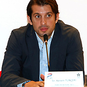 Anadolu Efes's Kerem TUNCERI seen during their Two Nations Cup Press Conference press conference at Anadolu Efes sports hall in Istanbul Turkey on Friday 30 September 2011. Photo by TURKPIX