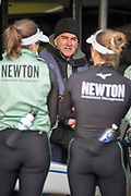 Putney, London, Varsity, Tideway Week, 3rd April 2019, CUWBC Supporting Coach. Miles FORBES- THOMAS, Embankment, Start of the Oxford Cambridge Media week, Championship Course,<br /> [Mandatory Credit: Peter SPURRIER], Wednesday,  03.04.19,