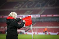 A member of the Middlesbrough team cleans a corner flag at half time<br /> <br /> Photographer Alex Dodd/CameraSport<br /> <br /> The EFL Sky Bet Championship - Middlesbrough v Rotherham United - Wednesday 27th January 2021 - Riverside Stadium - Middlesbrough<br /> <br /> World Copyright © 2021 CameraSport. All rights reserved. 43 Linden Ave. Countesthorpe. Leicester. England. LE8 5PG - Tel: +44 (0) 116 277 4147 - admin@camerasport.com - www.camerasport.com