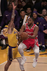 October 20, 2018 - Los Angeles, California, U.S - Lonzo Ball #2 of the Los Angeles Lakers blocks Eric Gordon #10 of the Houston Rockets on Saturday October 20, 2018 at the Staples Center in Los Angeles, California. Rondo and Paul were ejected. (Credit Image: © Prensa Internacional via ZUMA Wire)