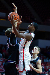 NORMAL, IL - October 23: Antonio Reeves slips a shot past Cade McKnight during a college basketball game between the ISU Redbirds and the Truman State Bulldogs on October 23 2019 at Redbird Arena in Normal, IL. (Photo by Alan Look)