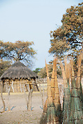 Reeds cut from the delta are bound and left to dry in the village of Seronga in the Okavango Delta, Botswana
