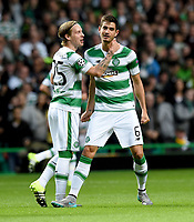 19/08/15 UEFA CHAMPIONS LEAGUE PLAY-OFF 1ST LEG<br /> CELTIC V MALMO<br /> CELTIC PARK - GLASGOW<br /> Nir Bitton (right) celebrates his strike with Celtic team-mate Stefan Johansen.
