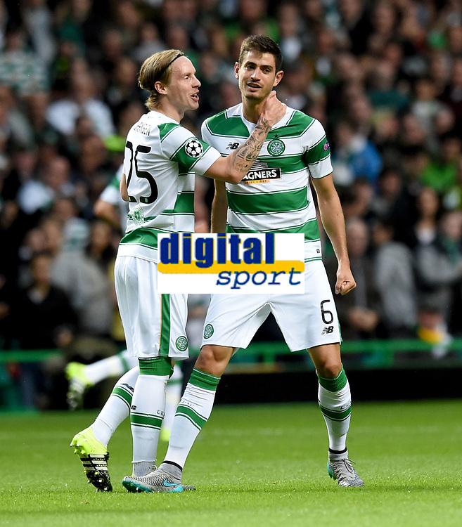 19/08/15 UEFA CHAMPIONS LEAGUE PLAY-OFF 1ST LEG<br /> CELTIC V MALMO<br /> CELTIC PARK - GLASGOW<br /> Nir Bitton (right) celebrates his strike with Celtic team-mate Stefan Johansen.