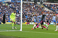 Football - 2021 / 2022 Premier League - Brighton & Hove Albion vs Leicester City - Amex Stadium - Sunday 19th September 2021<br /> <br /> Jamie Vardy of Leicester City pulls a goal back for Leicester at The Amex Stadium Brighton <br /> <br /> COLORSPORT/Shaun Boggust
