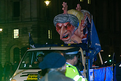 A van carrying effigies of leading British Brexit figures passes the houses of Parliament in Westminster shortly after Prime Minister Theresa May's Brexit deal was heavily defeated. London, January 15 2019.