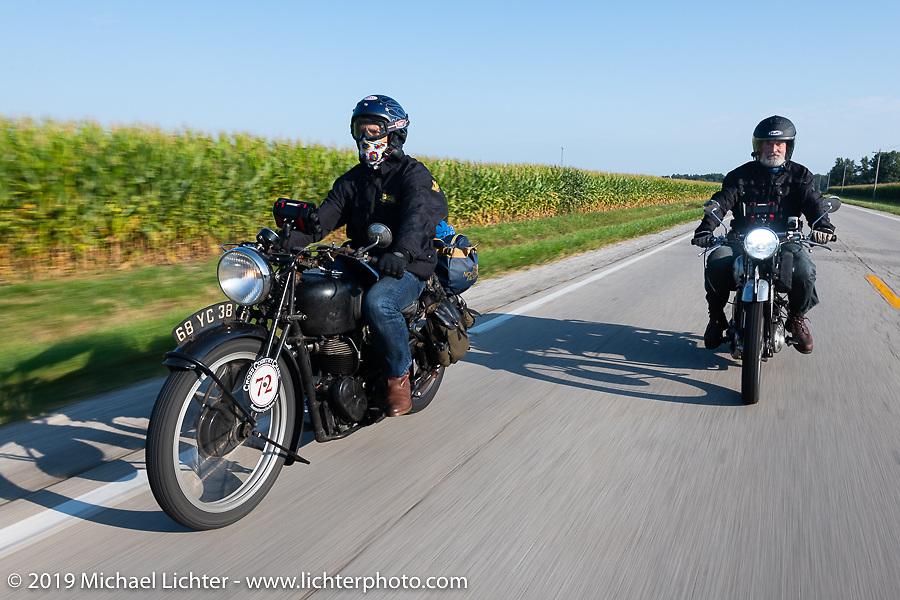 Larry Luce (L) and Paul Warrenfelt riding in the Cross Country Chase motorcycle endurance run from Sault Sainte Marie, MI to Key West, FL (for vintage bikes from 1930-1948). Stage 4 saw a 315 mile ride from Urbana, IL to Bowling Green, KY USA. Monday, September 9, 2019. Photography ©2019 Michael Lichter.