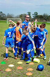 15 March 2015. New Orleans, Louisiana.<br /> U9. Gonzales Soccer Club prepare to take on New Orleans Jesters Elites, team purple.<br /> Photo; Charlie Varley/varleypix.com