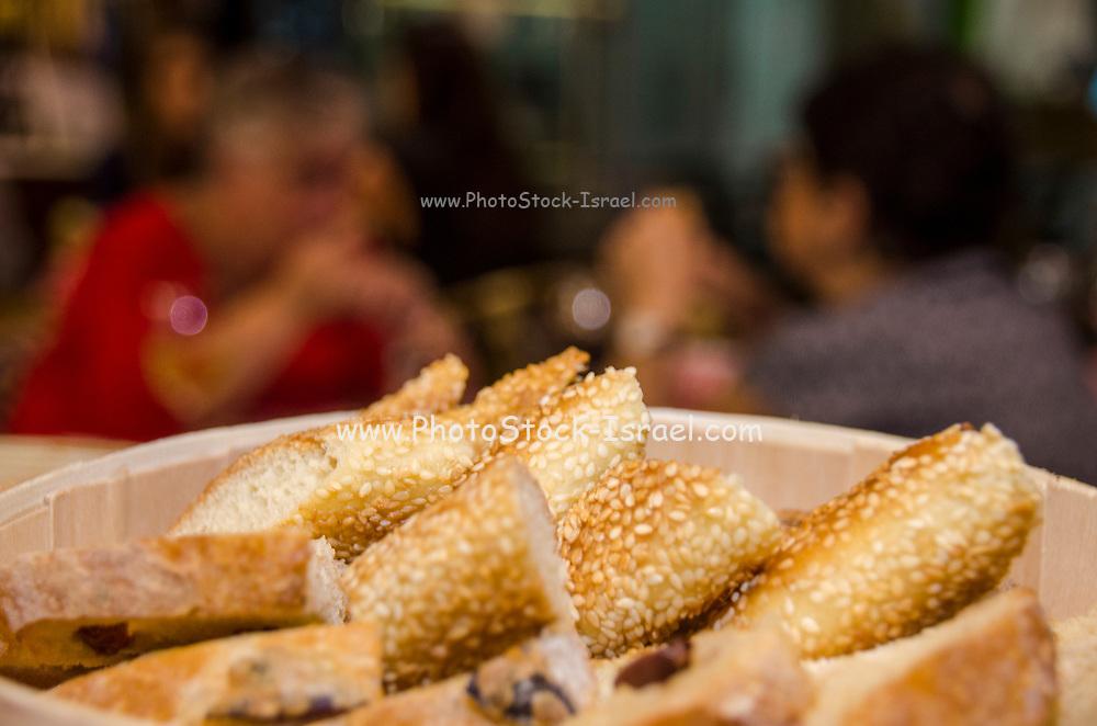 A basket of freshly backed bread snacks