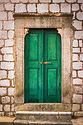 Green door at St Stephen Church, Zaton, Dalmatian Coast, Croatia
