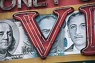 Detail of a money changer sign in Jakarta.<br /> Various scenes of the city of Jakarta in Indonesia.