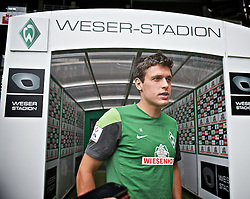27.08.2013, Weserstadion, Bremen, GER, 1.FBL, Training SV Werder Bremen, im Bild Zlatko Junuzovic (Bremen #16) beim Interview // during the training session of the German Bundesliga Club SV Werder Bremen at the Weserstadion, Bremen, Germany on 2013/08/27. EXPA Pictures © 2013, PhotoCredit: EXPA/ Andreas Gumz <br /> <br /> ***** ATTENTION - OUT OF GER *****