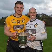 Clonlara's Captain John Conlon with goalkeeper Ger O'Connell