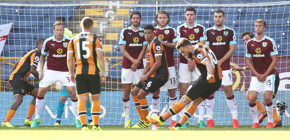 Hull City's Robert Snodgrass scores his sides equalising goal from an added time free kick right at the end of the game to make the score 1 - 1<br /> <br /> Photographer Rich Linley/CameraSport<br /> <br /> The Premier League - Burnley v Hull City - Saturday 10th September 2016 - Turf Moor - Burnley<br /> <br /> World Copyright © 2016 CameraSport. All rights reserved. 43 Linden Ave. Countesthorpe. Leicester. England. LE8 5PG - Tel: +44 (0) 116 277 4147 - admin@camerasport.com - www.camerasport.com