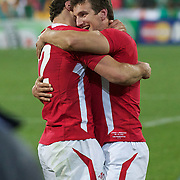 Jamie Roberts, (left) and Sam Warburton, Wales, celebrate after the Ireland V Wales Quarter Final match at the IRB Rugby World Cup tournament. Wellington Regional Stadium, Wellington, New Zealand, 8th October 2011. Photo Tim Clayton...