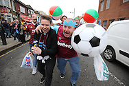 West Ham fans partying outside Boleyn Ground before k/o. scenes around the Boleyn Ground, Upton Park in East London as West Ham United play their last ever game at the famous ground before their move to the Olympic Stadium next season. Barclays Premier league match, West Ham Utd v Man Utd at the Boleyn Ground in London on Tuesday 10th May 2016.<br /> pic by John Patrick Fletcher, Andrew Orchard sports photography.
