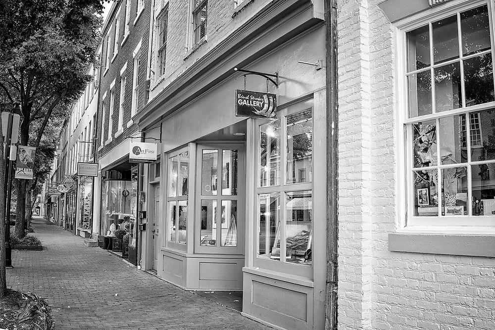 Art galleries along Caroline Street in the historic district of Fredericksburg, VA.