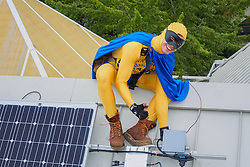 Solar panel installation, KidsQuest Children's Museum, Bellevue, Washington, United States