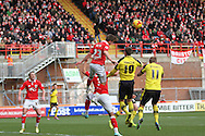 Bristol City's David Ball heads clear during the Sky Bet League 1 match between Bristol City and Fleetwood Town at Ashton Gate, Bristol, England on 1 February 2015. Photo by Shane Healey.