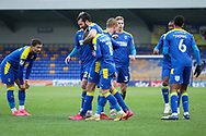 GOAL 1-1, AFC Wimbledon striker Ollie Palmer (9) during the EFL Sky Bet League 1 match between AFC Wimbledon and Lincoln City at Plough Lane, London, United Kingdom on 2 January 2021.