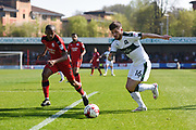 Plymouth Argyle  Matthew Kennedy (16) takes on Crawley Town defender Lewis Young (2) during the EFL Sky Bet League 2 match between Crawley Town and Plymouth Argyle at the Checkatrade.com Stadium, Crawley, England on 8 April 2017. Photo by David Charbit.