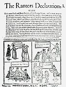 The Ranters Declaration' c1650.  Ranters were a radical English Christian sect at the time of the Commonwealth, one of a number of nonconformist groups.  They did not accept  authoritarian, hierarchical religious organisation and believed everyone had Jesus within them.