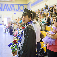 052115  Adron Gardner/Independent<br /> <br /> Rowland Billie lines up to make the walk for graduation at Navajo Pine High School graduation in Navajo Thursday.