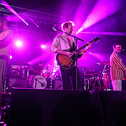 COLUMBIA, MD - July 22nd, 2012 -Rob Smoughton, Jim Orso, Al Doyle, and Alexis Taylor of Hot Chip perform at Merriweather Post Pavilion in Columbia, MD. The band released their fifth studio album, In Our Heads, in April.  (Photo by Kyle Gustafson/For The Washington Post)