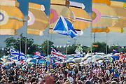 Haim perform on the other stage. The 2014 Glastonbury Festival, Worthy Farm, Glastonbury. 27 June 2013.  Guy Bell, 07771 786236, guy@gbphotos.com