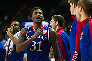 WACO, TX - JANUARY 7: Jamari Traylor #31 of the Kansas Jayhawks gestures to silence the crowd against the Baylor Bears on January 7, 2015 at the Ferrell Center in Waco, Texas.  (Photo by Cooper Neill/Getty Images) *** Local Caption *** Jamari Traylor