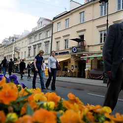 Warsaw, Poland - May, 2009 - Strolling along Street Novy Swiat, Warsaw's main thoroughfare just south of Old Town..Photo © Susana Raab 2009