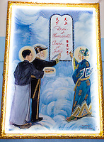 painting depicting the signing of the 3rd alliance between god and mankind by the three saints of Cao Dai - Victor Hugo, Sun Yat Sen, Nguyen Binh Khiem