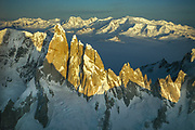 Cerro Torre and Patagonian icecap from summit FitzRoy, after ascent Super Couloir, winter 1993. Photo: Gottlieb Braun-Elwert