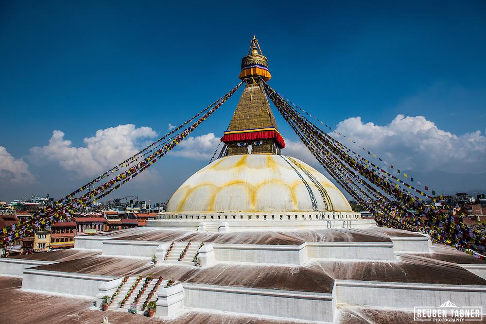 A quite Boudhanath stupa in Kathmandu, Nepal.