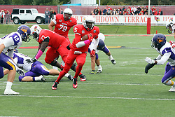 03 October 2015:  Tre Roberson(5) exploits a hole in the center of the line on a keeper play. NCAA FCS Football between Northern Iowa Panthers and Illinois State Redbirds at Hancock Stadium in Normal IL (Photo by Alan Look)
