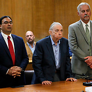 John Feit listens to the guilty verdict in his trial for the 1960 murder of Irene Garza as his lawyers, O. Rene Flores, left, and A. Ricardo Flores stand beside him. Feit had to decide if he would testify on his own behalf before the jury started deliberations. He stated that it was a wrestling match between vanity and common sense, and on the advice of his lawyers, common sense won. Nathan Lambrecht/The Monitor