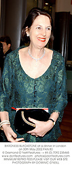 BARONESS BLACKSTONE at a dinner in London on 30th May 2002.PAN 80
