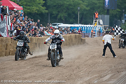 Hammer VanScyoc and Joshua McDonald over the finish line at the Bradford Beach Brawl, a TROG style beach racing event, during the Harley-Davidson 115th Anniversary Celebration event. Milwaukee, WI. USA. Saturday September 1, 2018. Photography ©2018 Michael Lichter.