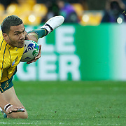 Digby Ioane, Australia, in action during the South Africa V Australia Quarter Final match at the IRB Rugby World Cup tournament. Wellington Regional Stadium, Wellington, New Zealand, 9th October 2011. Photo Tim Clayton...