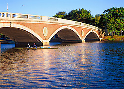 The John W. Weeks Bridge, usually called the Weeks Footbridge (or simply Weeks Bridge), is a pedestrian bridge over the Charles River connecting Cambridge, Massachusetts with the Allston section of Boston. John W. Weeks was a longtime U.S. Representative, and later Senator, from Massachusetts, as well as Secretary of War in the Harding and Coolidge administrations.<br /> <br /> Weeks Bridge was opened in 1927 to carry pedestrian traffic between the Harvard Business School's newly-built Allston campus and the Business School's former home, Harvard's traditional campus in Cambridge. Its concrete underbelly conceals tentacles of the University's steam, electrical, and communications networks.[3]
