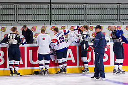 Players and coach Matjaz Kopitar during practice session of Slovenian National Ice Hockey team first time in Arena Stozice before 2012 IIHF World Championship DIV I Group A in Slovenia, on April 13, 2012, in Arena Stozice, Ljubljana, Slovenia. (Photo by Vid Ponikvar / Sportida.com)