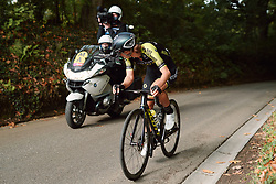 Lucy Kennedy (AUS) looks back at the 2020 Brabantse Pijl - Elite Women, a 121 km road race from Lennik to Overijse, Belgium on October 7, 2020. Photo by Sean Robinson/velofocus.com