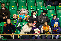15.12.2013, Hala Tivoli, Ljubljana, SLO, EBEL, HDD Telemach Olimpija Ljubljana vs EHC Black Wings Linz, 54. Runde, im Bild Fans with teddy bears // during the Erste Bank Icehockey League 54th round match between HDD Telemach Olimpija Ljubljana and EHC Black Wings Linz at the Hala Tivoli in Ljubljana, Slovenia on 2013/12/15. EXPA Pictures © 2013, PhotoCredit: EXPA/ Sportida/ Matic Klansek Velej<br /> <br /> *****ATTENTION - OUT of SLO, FRA*****