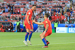Chile's Martín Rodriguez (left) celebrates scoring his side's first goal of the game