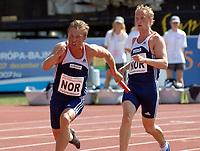 Friidrett<br /> EM U23 Debrechen<br /> 15.07.2007<br /> Foto: Hasse Sjøgren, Digitalsport<br /> NORWAY ONLY<br /> <br /> 4x100 meter stafett<br /> Henrik Johnsen og Rasmus Rypdal