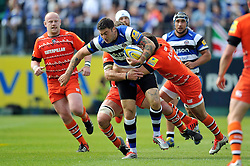 Matt Banahan of Bath Rugby takes on the Leicester Tigers defence - Photo mandatory by-line: Patrick Khachfe/JMP - Mobile: 07966 386802 23/05/2015 - SPORT - RUGBY UNION - Bath - The Recreation Ground - Bath Rugby v Leicester Tigers - Aviva Premiership Semi-Final